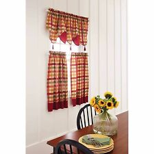 Red Green Yellow Tan COUNTRY PLAID Kitchen Curtains VALANCE OR TIERS SET