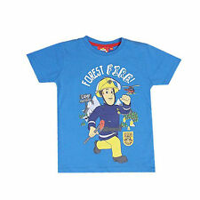 Official Licensed Fireman Sam Boys Forest Fire! T Shirt Blue Age 2 to 8 Years