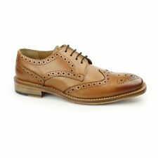 Kensington EDWIN Mens Luxury Leather Goodyear Welted Brogue Oxford Shoes Tan