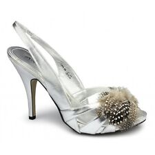 Anne Michelle Womens Ladies Slingback Brooch High Heels Evening Shoes Silver New