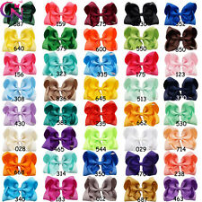 "40Colors 5Pcs Lot 5""Grosgrain Ribbon HairBow Clips With Knot For Girls Kids Gift"