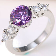 1.9ct Natural Amethyst 925 Silver Women Wedding Engagement Ring Size 6-11