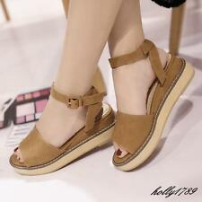 Womens Open Toe Platfrom Buckle Strap Wedge Faux Suede Roman Style Sandals