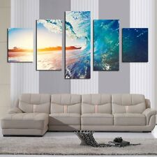 5 Pcs Sunset Blue Sea Wave Seascapeh Canvas Prints Painting Wall Art Home Decor