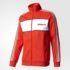 adidas Originals BLOCK MEN'S TRACK JACKET Slim Fit CORE RED - Size L, XL Or 2XL