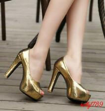 Plus Size Womens High Heels Peep Toe Pumps Shiny Dating Nightclub Court#size