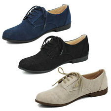 WOMENS LADIES CASUAL WORK SCHOOL FLAT LACE UP MOCCASINS LOAFERS SHOES SIZE 3-8