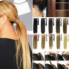 US 100% Real Long Clip In Hair Extension Pony Tail Wrap Around Ponytail Straight