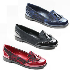 WOMENS LADIES OFFICE WORK FLAT OXFORD TASSEL LOAFERS BROGUES  SHOES SIZE 3-8