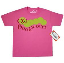 Inktastic Smiling Bookworm Youth T-Shirt Reading Read Books Book Worm Lover Cute