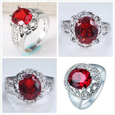 Charm Jewelry 925 Silver Ruby Gemstone Topaz Women Wedding Ring Size 6-10