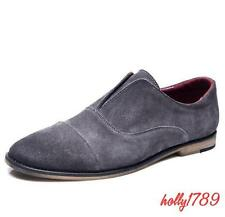 Vintage Mens Suede Leather Slip On Dress Shoes Pointy Toe Loafers Pull on