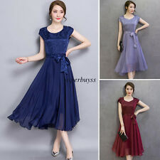 Plus Womens Faux Silk High Waist Tunic Pleated Swing Evening Party Long Dress