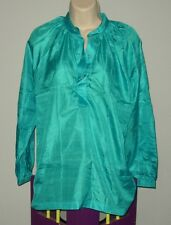 BLUE 100% PURE SILK BLOUSE LONG SLEEVED