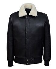 MENS BLACK1224 Anline Bomber Fur Collar Fighter Aviator AIR FORCE Leather jacket