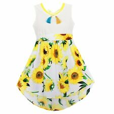 Fashion Girls Dress Sunflower Print Cute Party Pageant Holiday Children Clothes