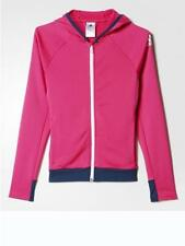 adidas girls pink/navy zip up tracksuit top. Hooded jacket. Age 11-12 years.