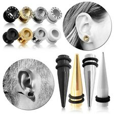 Flesh Tunnel Taper Expander Piercing Plug Rhinestone Stretcher Set Steel Earring