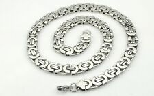 """6/8/11mm Silver Flat Byzantine Stainless Steel Necklace Boys Mens Chain18""""-36''"""