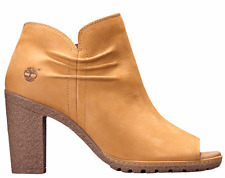 Timberland Women's Ruched Glancy Peep Toe High Heel Bootie Boots A1GWA Wheat
