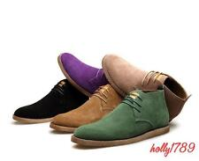Mens casual lace up vinatge chelsea ankle boots flat suede leather worker shoes