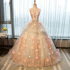 New Pink Sweetheart Long Wedding Dresses Bridal Ball Gown Applique Custom Size