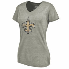 NFL Pro Line New Orleans Saints Women's Ash Distressed Team Tri-Blend T-Shirt