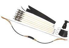 Archery bow Set Traditional Longbow Leather Recurve Bow 20-110lb + 6 wood arrows