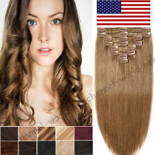 8PCS Full Head Clip in 100% Human Hair Extensions Remy Hair Brown Blonde US B386