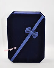 Deluxe Large Velvet Necklace Earrings Ring Jewelry Set Gift Box Blue Brown bow