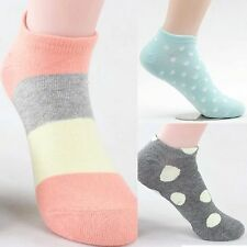 Women Striped Polka Dot Spotted Footie No-Show Trainer Mini Crew Ped Liner Socks