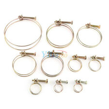 10x Adjustable Double Wire Hose Clamp Pipe Clip Screw Bolt Classic Zinc 13-100mm