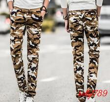 Camouflage Mens elastic Skinny slim fit Pants Cotton blend Trousers#4style@size