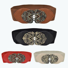 Women Fashion Vintage Wide Elastic Stretch Buckle Waist Belt Waistband BF