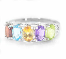 925 Sterling Silver Ring with Rhodolite Blue Topaz Citrine Amethyst Peridot eBay