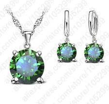 925 Silver CZ Crystal Solitaire Drop Pendant Necklace Dangle Earring Birthstone