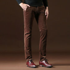 Mens Slim Fit Cotton Corduroy Trousers Casual Retro Thermal Stretchy Pants Solid