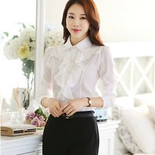 Lady Ruffle Front Shirt Chiffon Long Sleeve Button Slim Work Vintage Blouse Top