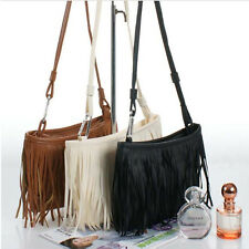 PU Women Leather Tassel Shoulder Bag Handbag Messenger Cross Body Fringe US Tote