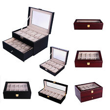 Wood Watch Gift Box Leather Jewelry Collection Display Storage Case Clear Top