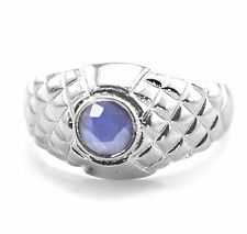 925 Sterling Silver Ring with Dark Blue Sapphire Natural Gemstone Handmade.