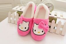 Cute Hello Kitty Women Winter Home Soft Plush Slippers Shoes ladies pink Warm
