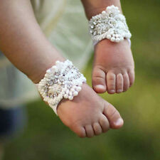 Baby Girl Kids Barefoot Sandals Shoes Headband Crystal Flower Foot Band 3pcs