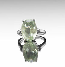 925 Sterling Silver Ring with Oval Green Natural Amethyst Gemstone Handcrafted.
