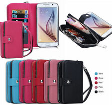 Removable Zipper PU Leather Wallet Case Card Cash Holder For iPhone & Samsung