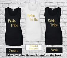 Personalised Bride To Be Tribe Ladies Tank Top Vest Bridal Hen Party T Shirt