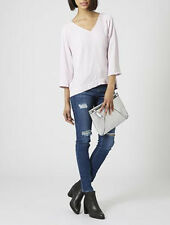 Topshop Brand New Light Pink Textured V Neck Rear Zip Top Size 6-16 RRp=£36