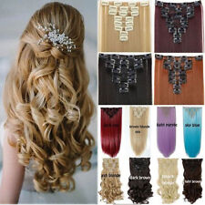 100% Real Full Head 8 piece Clip in on Hair Extensions 18 clips on straight Wavy