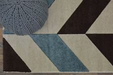 Quality Wool Like Heavyweight Herringbone Design Rug Modern Thick Deep Pile NEW