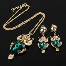 Women Gold Plated Colorful Zircon Wedding Jewelry Sets Owl Necklace Earrings Set